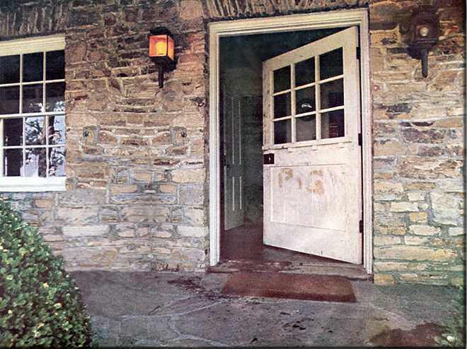 The door of Sharon Tate's home, in which she and four others were murdered by followers of Charles Manson. The word 'pig' was written in Tate's blood.
