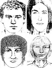 Clockwise from upper left: Suspect Sketches #1, #2, #3, and #4.